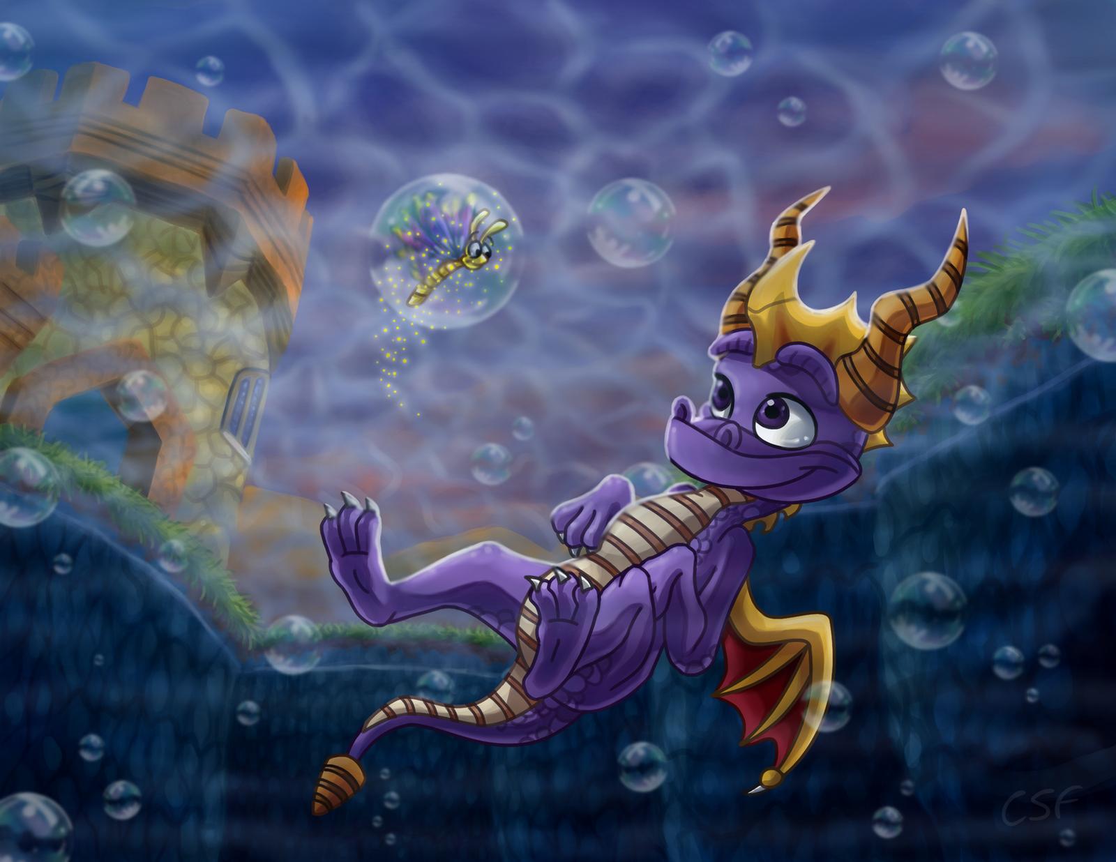 Swim in Evening Lake by CartoonSilverFox