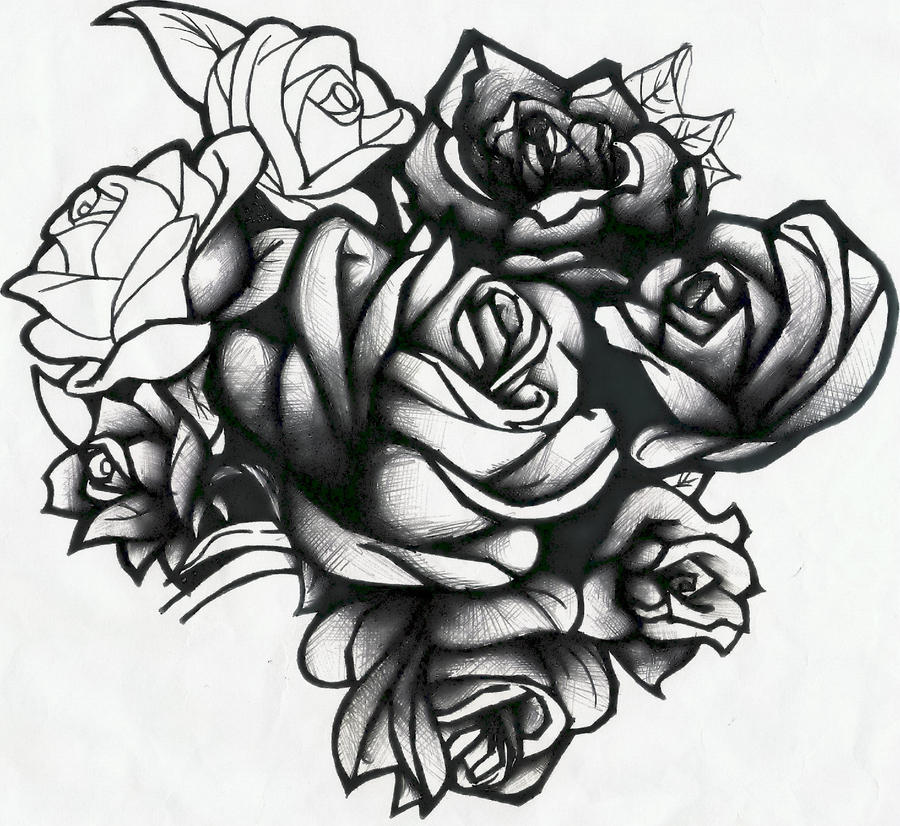 Cluster Rose Drawing Tattoos