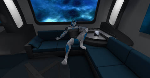 Starfleet Admiral Shadow relaxing in his quarters by shadowwolf34965