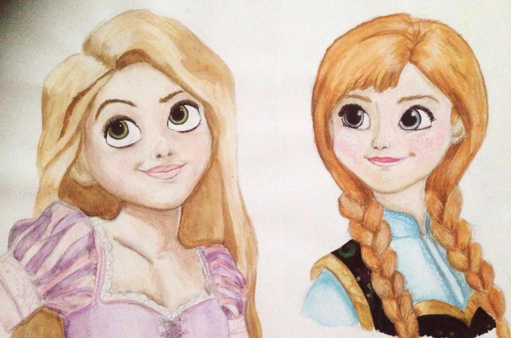 Rapunzel and Anna by plmethvin