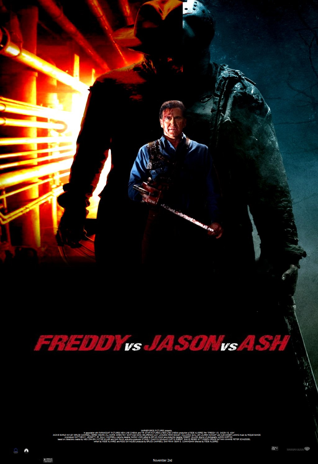 freddy vs jason vs ash movie poster by steveirwinfan96 on