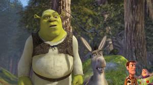 Woody and Buzz meet Shrek and Donkey