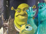 Sulley and Mike meets Shrek and Donkey