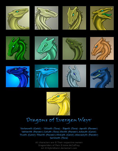 Evergen Weyr Dragons by HybridGeist