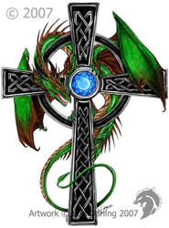 Celtic Dragon Cross by HybridGeist
