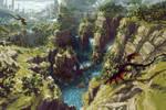 Landscape and Dragon pixelart