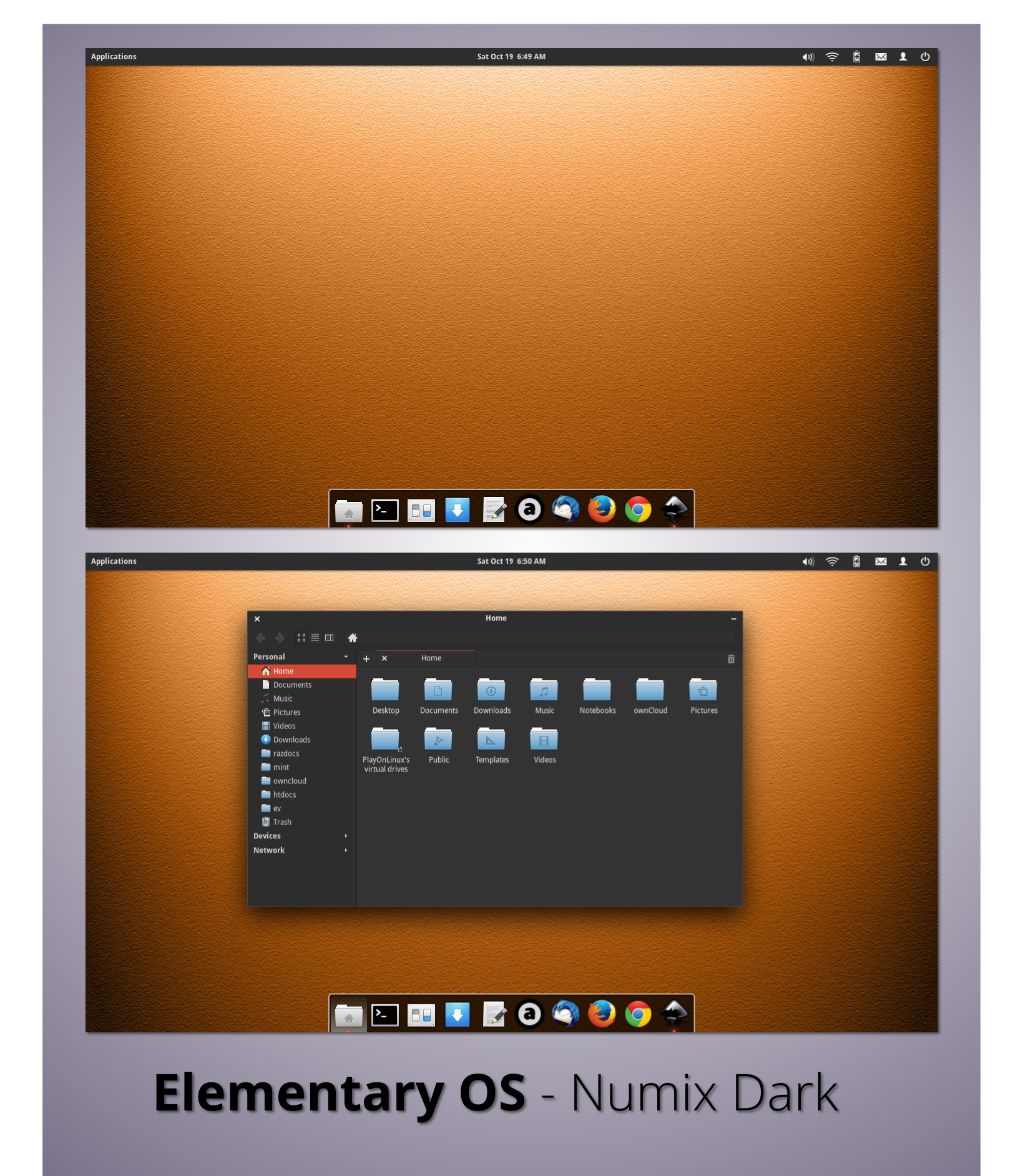 Elementary OS - Numix Dark by nekron29