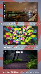 3 GNU Linux Distributions - 3 Desktop Setups by nekron29