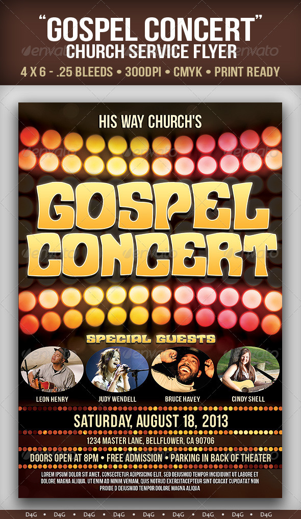 Gospel Concert 2 Flyer Template By D4g Graphics On Deviantart