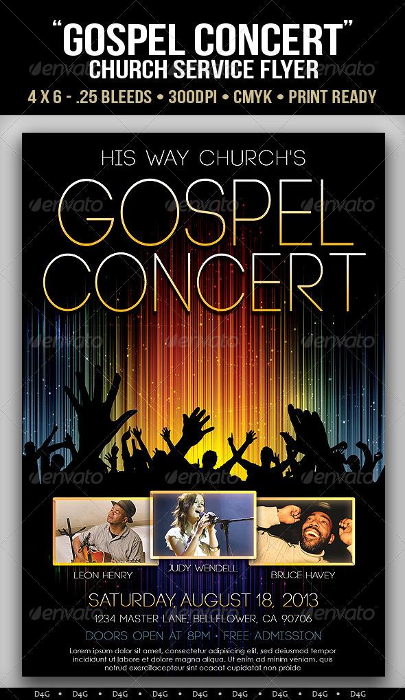 Gospel Concert Lights Flyer Template By D4g Graphics On Deviantart