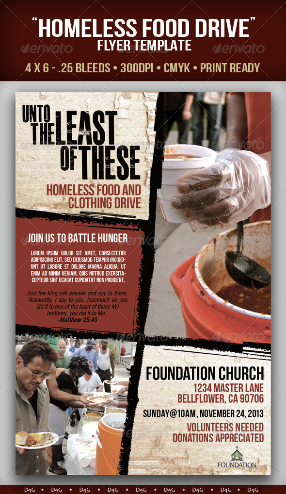 Homeless Food Drive Flyer Template By D4g Graphics On Deviantart