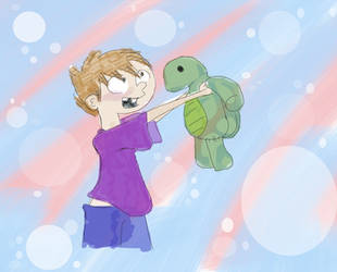 kid-Tommy meeting Fred the turtle by Angel-with-a-Flower