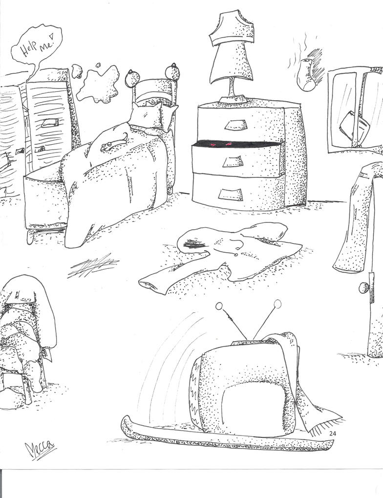 Bedroom Drawing: Messy Room-pic By X3kittymuffinX3 On DeviantArt