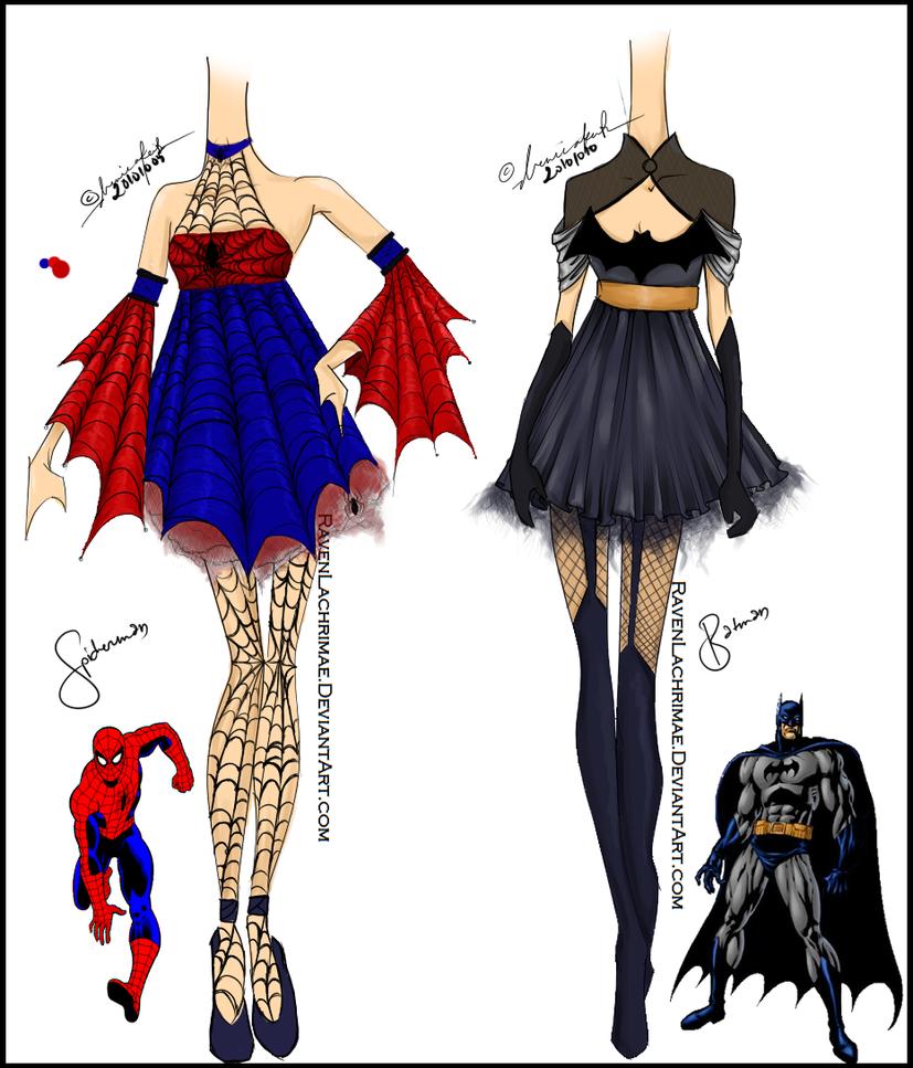 SpiderMan and BatMan Inspired Design by ravenlachrimae