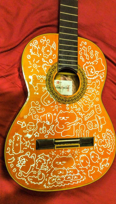 painted GUITAR!! by kusaman