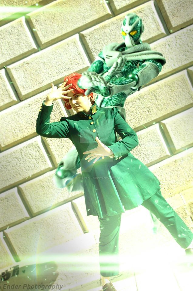 Noriaki Kakyoin crossplay - With Hierophant Green by JudyHelsing