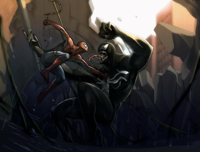 spiderman vs venom by aribuwana