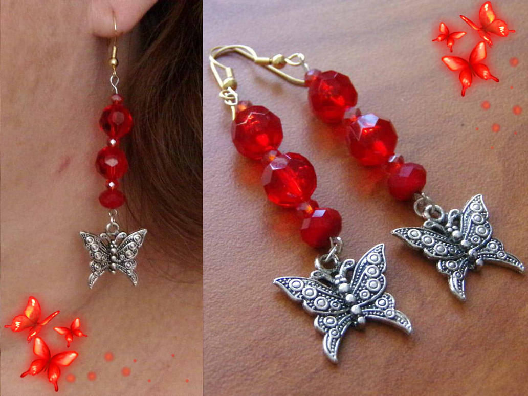 Crimson Butterfly Earrings by Glitter-Stitch