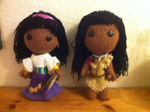 Esmeralda and Pocahontas Sackboys