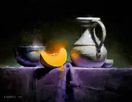 cantaloupe on purple by turningshadow