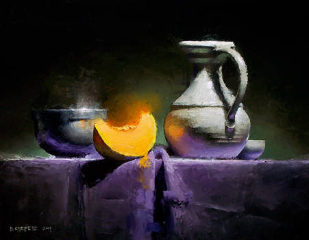 cantaloupe on purple