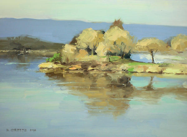 plein air shoreline lake by turningshadow