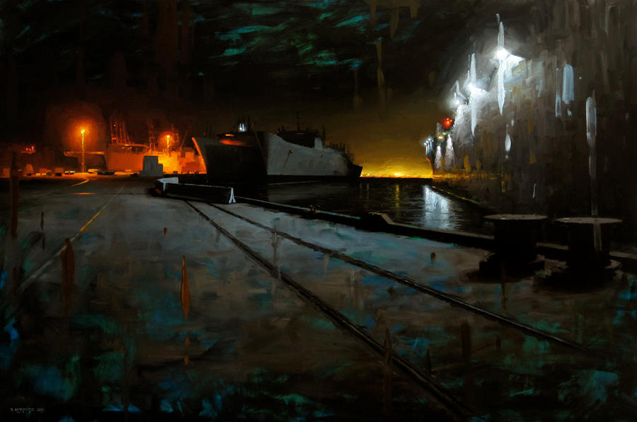shipyard at night by turningshadow