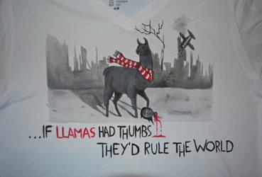 If llamas had thumbs... - T-shirt by wolkentanzer