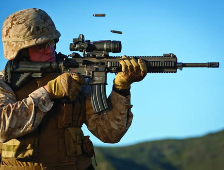 A Marine and his automatic rifle