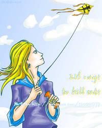 Lena bear plays a kite
