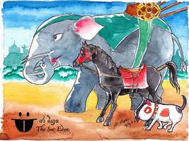 War Elephant Horse and Dog by sw-eden