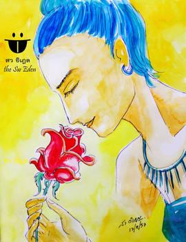 Khin Nanda and Red Rose