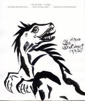 Smile Raptor Ink Drawing by sw-eden