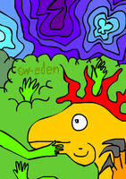 Orange Dinosaur and Handy Tree with Blue Sky by sw-eden