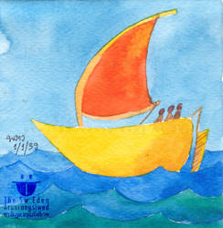 Sailing Red-Yellow Boat In Deep Blue Sea