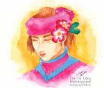 Smin Bayan portrait with Adenium flowers