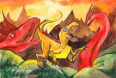 Orange Dinosaur Fighting With Red Dragons