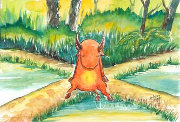 Orange Fat Buffalo Sitting In Rice Field