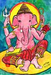 Pink Red Ganesha Ganapati Vinayaka by sw-eden