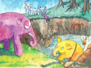 Purple Elephant  made the Yellow Elephant angry
