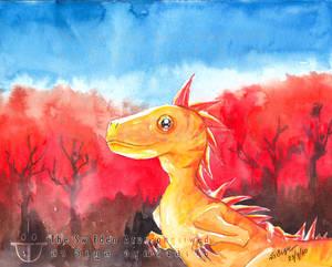 Yellow Golden Dinosaur Panic In Wildfire