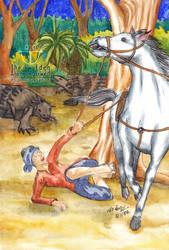Bamar Soldier fail from Horse after Dinosaur Panic