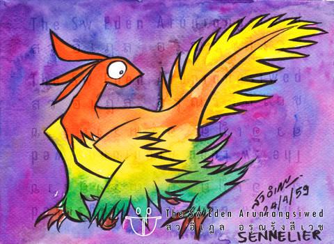 Microraptor with Sennelier watercolor