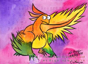 Microraptor with Cotman Watercolor