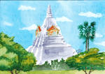 Phukhao Thong Pagoda the Actual Place Elephant War