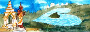 Holy Heart Land Island Sukhothai watercolor