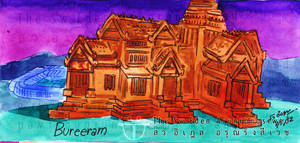 Chang Arena Thunder Castle Buriram watercolor