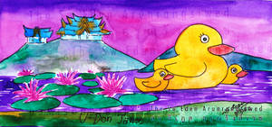 Udon Thani Yellow Duck Watercolor