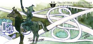 King Taksin Monument watercolor Thon Buri