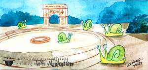 Watercolor Snails At Washington Square Park